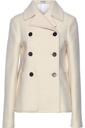 JIL SANDER Double-breasted wool and silk-blend coat
