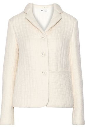 JIL SANDER Organza-appliquéd wool and silk-blend jacket