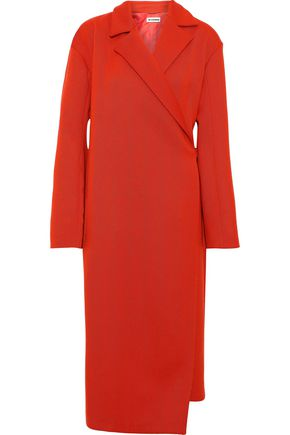 JIL SANDER Brushed wool-blend twill wrap coat