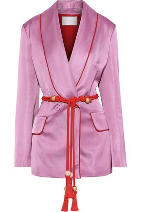 PETER PILOTTO Double-breasted belted satin-twill blazer