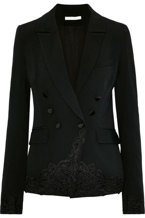 JONATHAN SIMKHAI Double-breasted lace-appliquéd crepe blazer
