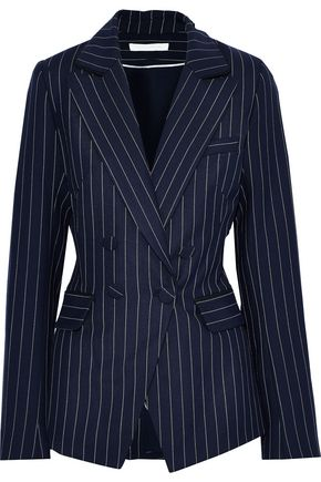 JONATHAN SIMKHAI Double-breasted pinstriped twill blazer