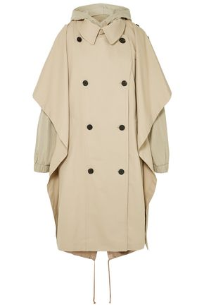 PUSHBUTTON Oversized hooded layered cotton-blend gabardine trench coat