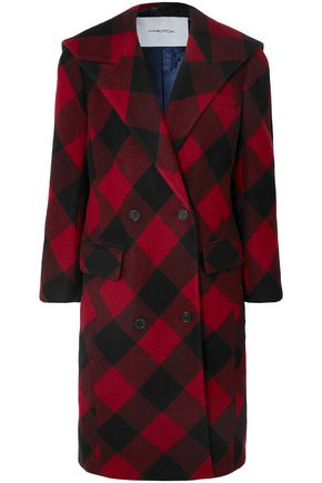 PUSHBUTTON Oversized checked double-breasted wool-blend coat