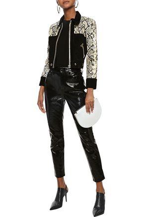 DE LA VALI Cropped snake-effect leather and suede jacket