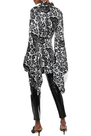 DE LA VALI Loki draped floral-print silk-satin jacket