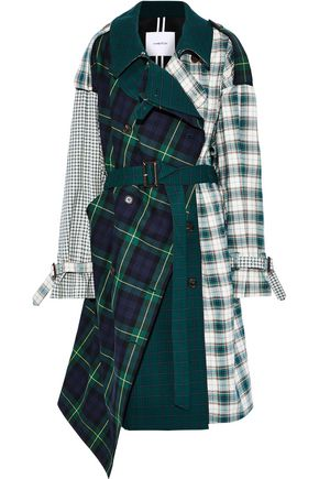 PUSHBUTTON Belted checked cotton trench coat