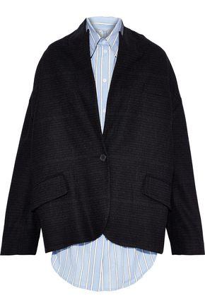 PUSHBUTTON Layered striped cotton-poplin and wool-blend felt jacket
