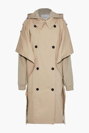 PUSHBUTTON Oversized layered cotton-blend gabardine hooded trench coat