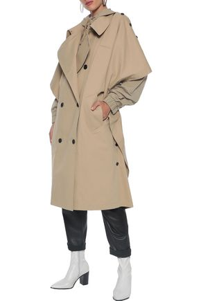PUSHBUTTON Oversized layered cotton-blend gabardine hooded trench coat