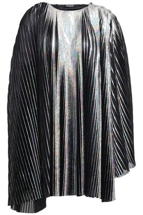 BALMAIN Pleated metallic jersey mini dress