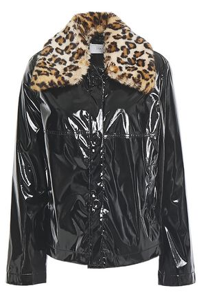 STAND STUDIO Alayna faux patent-leather and faux fur jacket