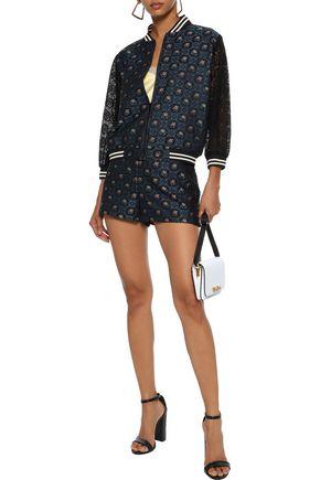 ANNA SUI Jacquard-paneled lace bomber jacket
