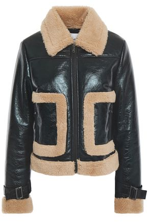 STAND STUDIO Faux shearling-trimmed textured patent-leather jacket