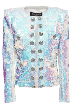BALMAIN Button-embellished sequined iridescent jersey jacket