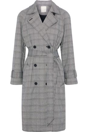 JOIE Damonica Prince of Wales checked jacquard trench coat