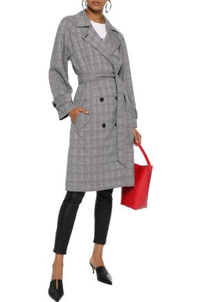 Joie Coats JOIE WOMAN DAMONICA PRINCE OF WALES CHECKED JACQUARD TRENCH COAT GRAY
