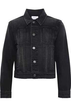 CURRENT/ELLIOTT The Baby Trucker cropped studded denim jacket