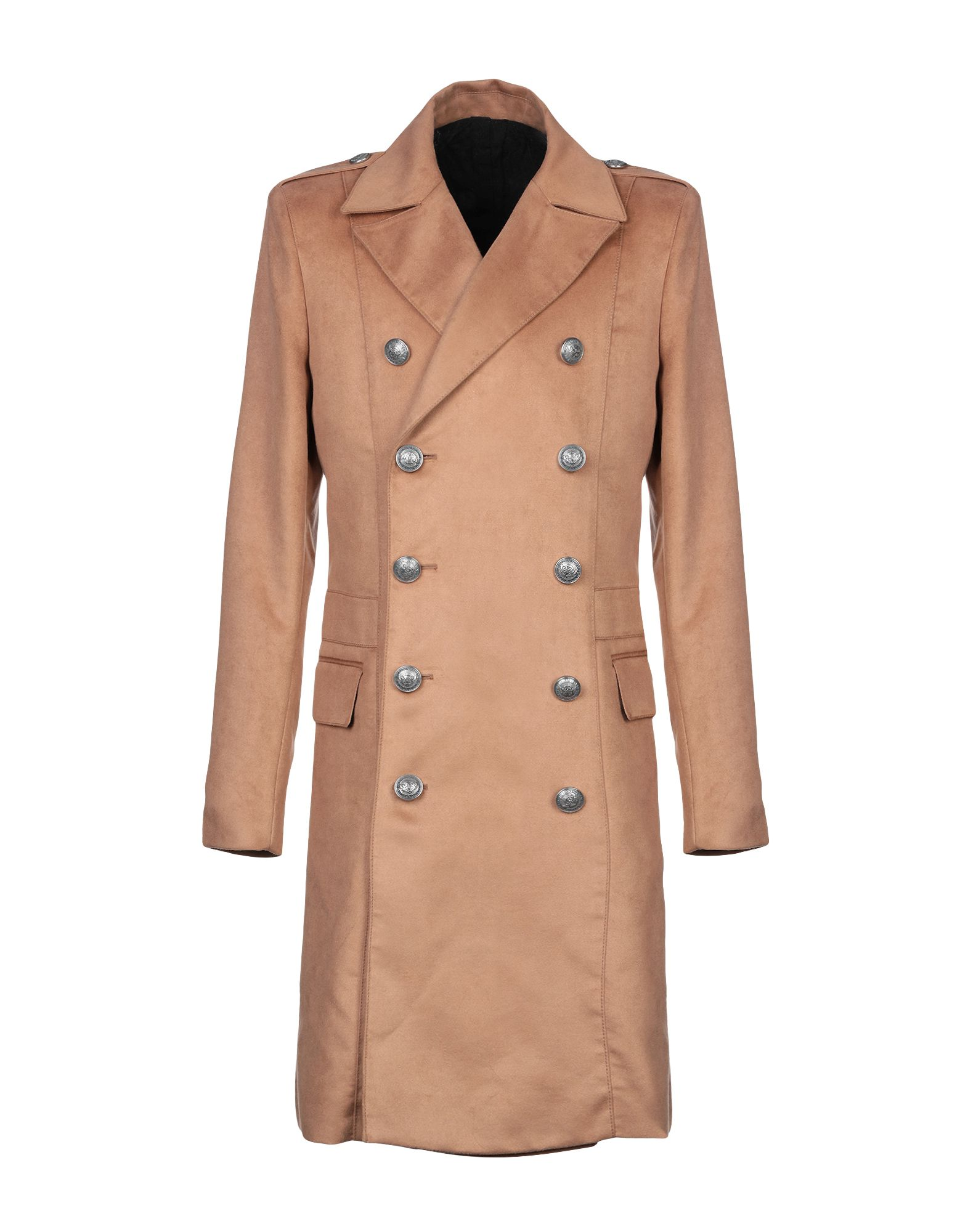 BALMAIN Coats. velour, flashes, half-belt, solid color, double-breasted, button closing, lapel collar, multipockets, internal pockets, long sleeves, buttoned cuffs, rear slit, fully lined, small sized. 61% Viscose, 39% Cotton