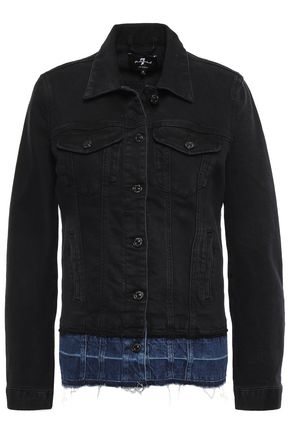 7 FOR ALL MANKIND Frayed two-tone denim jacket