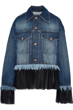 HOUSE OF HOLLAND Pleated tulle-trimmed frayed denim jacket