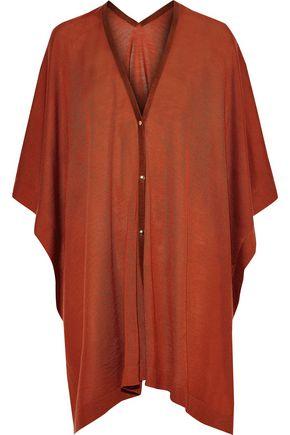 AGNONA Suede-trimmed cashmere poncho