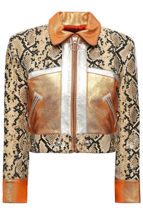 DE LA VALI Cropped snake-effect leather and suede jacket