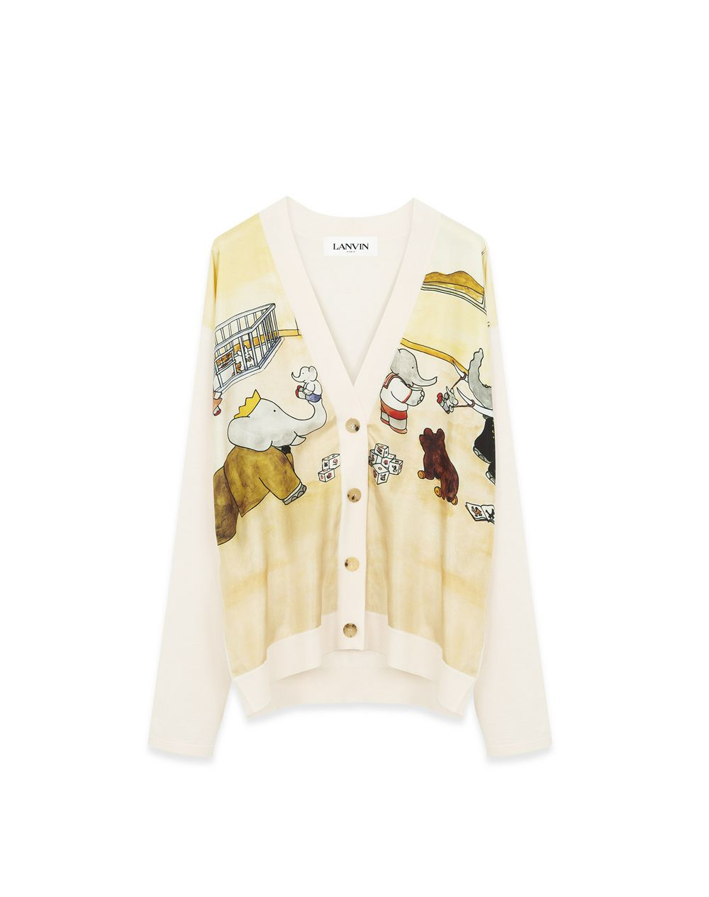 PRINTED CARDIGAN IN WOOL AND SILK - Lanvin
