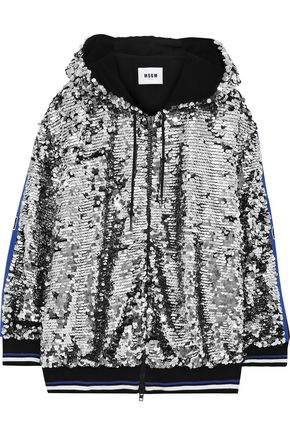MSGM Intarsia-trimmed sequined cotton hoodie