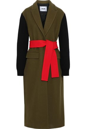 MSGM Color-block ribbed knit-paneled wool-blend coat