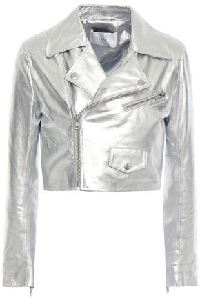 STAND STUDIO Cropped metallic leather biker jacket