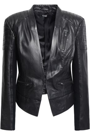 STAND STUDIO Knit-trimmed leather jacket