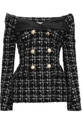 FAITH CONNEXION Off-the-shoulder checked bouclé-tweed jacket