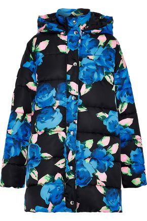 MSGM Quilted floral-print shell hooded coat