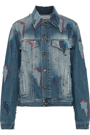 FAITH CONNEXION Appliquéd distressed printed denim jacket
