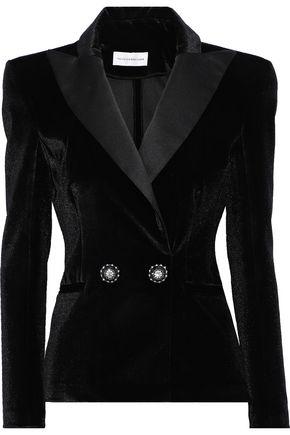 FAITH CONNEXION Double-breasted satin-trimmed velvet blazer
