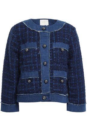 KATE SPADE New York Denim-trimmed tweed jacket