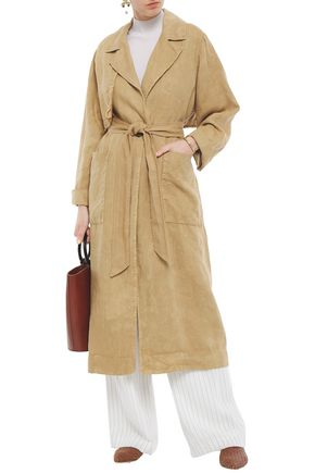 RAQUEL ALLEGRA Frayed linen trench coat