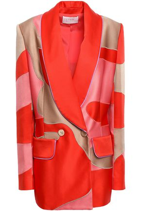 PETER PILOTTO Double-breasted paneled satin blazer