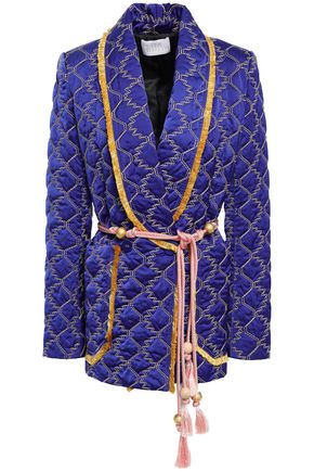 PETER PILOTTO Belted embellished quilted satin blazer
