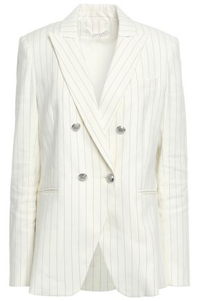 VERONICA BEARD Double-breasted pinstriped linen-blend twill blazer