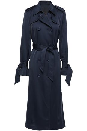 EQUIPMENT Belted tie-detailed satin trench coat