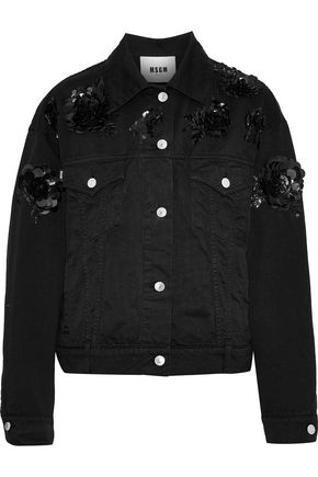 MSGM Sequin-embellished denim jacket