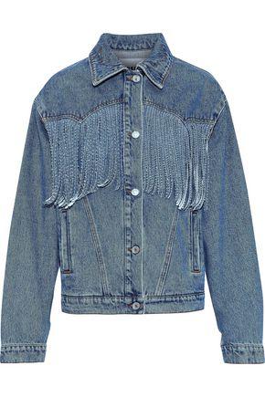 MSGM Fringe-trimmed denim jacket