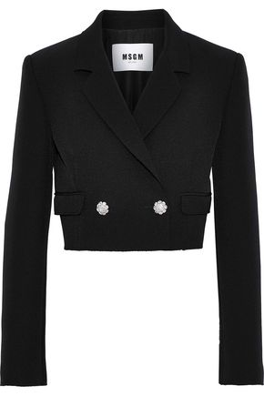 MSGM Cropped double-breasted crepe blazer