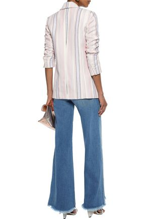 REBECCA MINKOFF Grace double-breasted striped linen and cotton-blend blazer