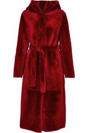 YVES SALOMON Reversible belted shearling hooded coat