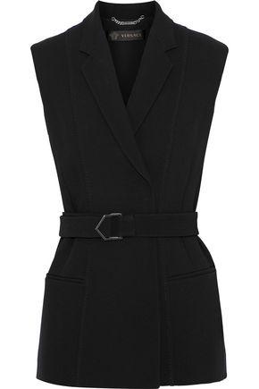 VERSACE Belted stretch-crepe vest