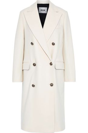 MSGM Double-breasted wool-blend felt coat