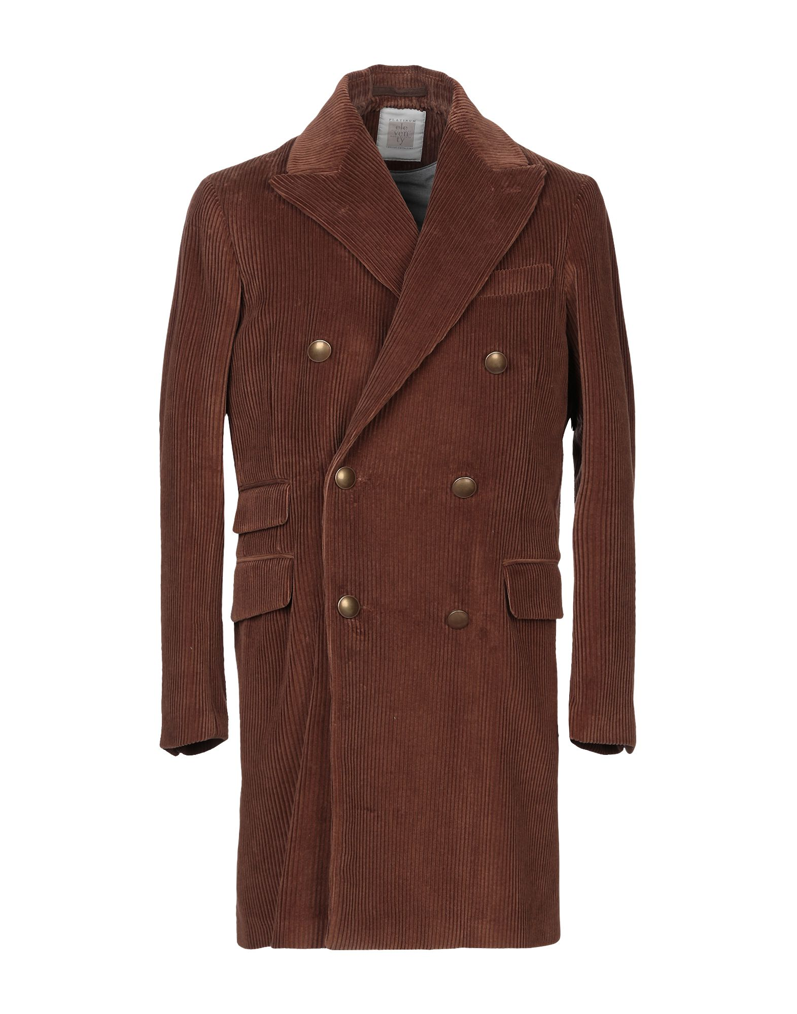 ELEVENTY Coats. ribbed, velvet, no appliqués, solid color, double-breasted, 3 buttons, lapel collar, multipockets, long sleeves, buttoned cuffs, rear slit, semi-lined, contains non-textile parts of animal origin. 96% Cotton, 4% Cashmere